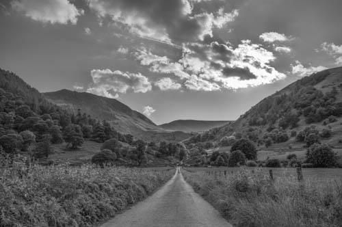 Farm lane to the mountains