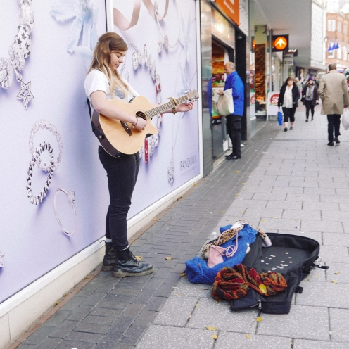Busker in the moment
