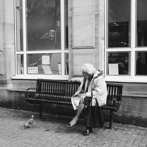 Old woman and pigeon