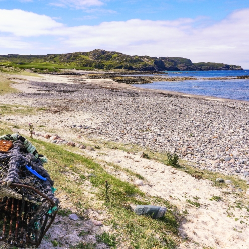 Lobster pot and beach, Iona