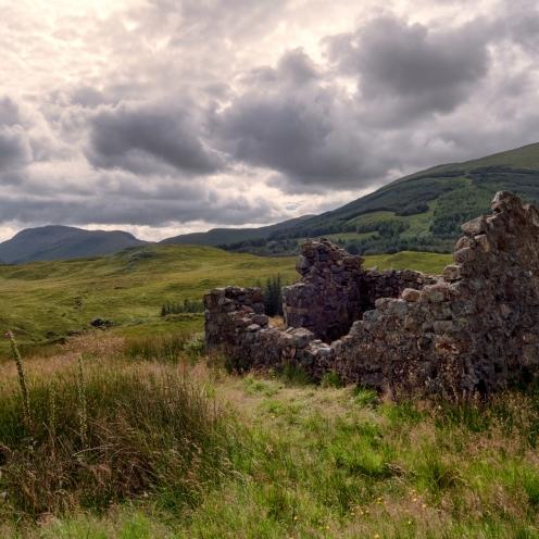 Ruined croft and moors, Mull
