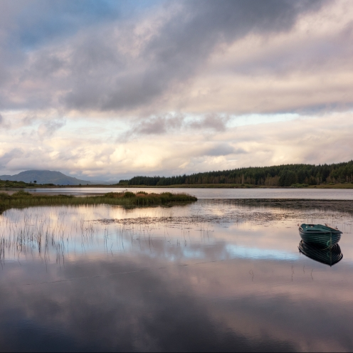 Mirrored sunset and loch, Mull
