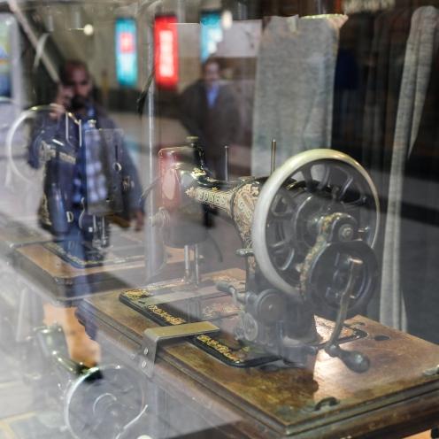 Sewing machine and pedestrian