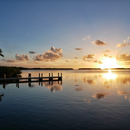 Florida Keys marina at sunset