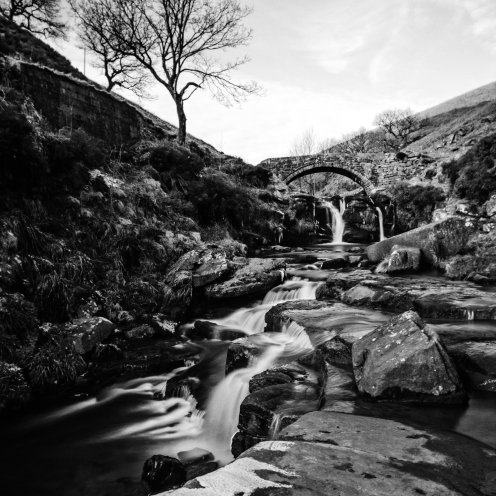 Three Shires Head Waterfall, Derbyshire, black and white