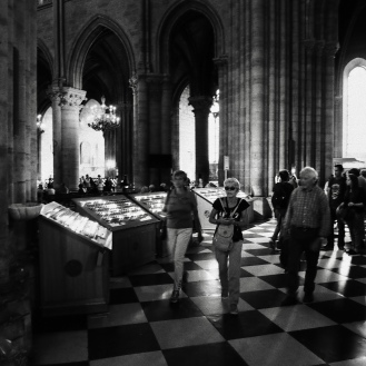 Notre Dame cathedral tourists and pilgrims