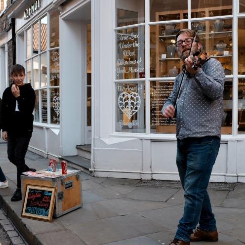 Fiddler busking in York