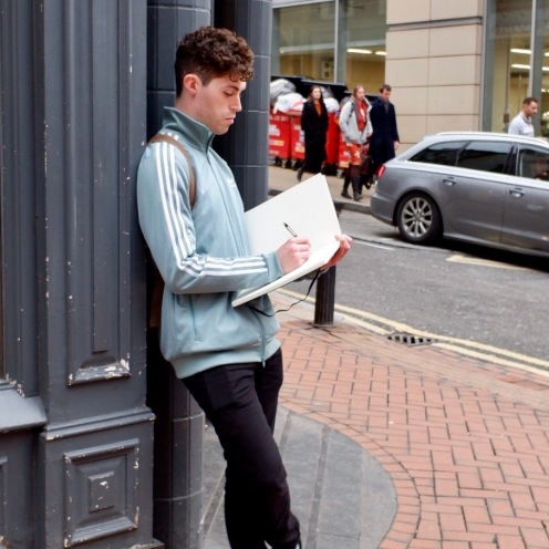 Artist sketching in Birmingham