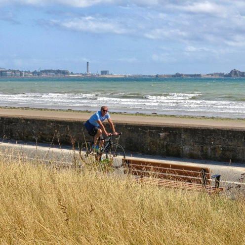 Cycling along the prom - St Helier, Jersey