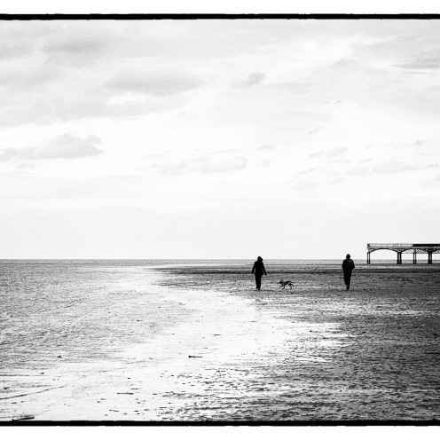 St Annes beach and pier, art black and white