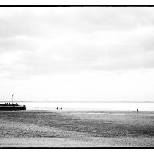 St Annes prom and beach, art black and white