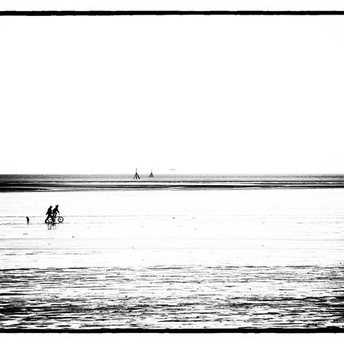 St Annes beach, art black and white