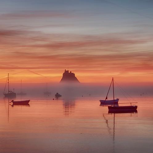 Misty harbour, Lindisfarne