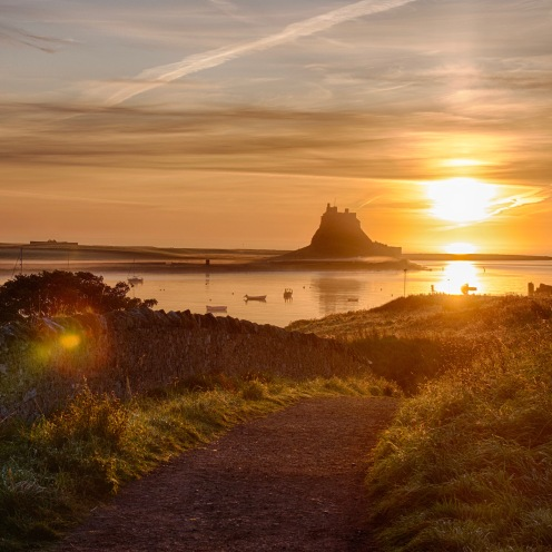 Road down to Lindisfarne harbour at first light